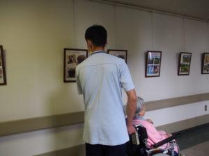 ギャラリーの写真に見入る患者さんと職員